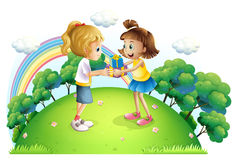 Two girls exchanging gifts at the hilltop Stock Images