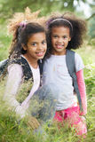 Two Girls Exploring Woods Together Royalty Free Stock Images