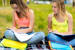 Two girls are female students. In summer they do their homework in nature. The concept of school classes in nature stock photography