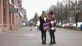 Two girls after the festive shopping consider the gifts. Slow motion. Two young pretty girls stand on the street and holding bags with shopping stock footage