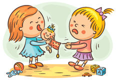Two girls fighting. Two little girls are fighting in the playroom because of a doll Royalty Free Stock Photo