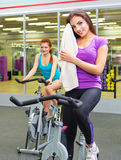 Two girls at fitness club Royalty Free Stock Photos