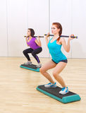 Two girls at fitness club Stock Photos