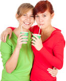 Two girls friend hugging each other Stock Images