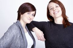 Two girls friends having fun and hug Stock Photography