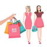 Two girls friends walking shopping bring bag big sale customer illustration Royalty Free Stock Photos
