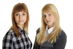 Two girls - friendson white Stock Photography