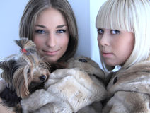 Two girls in fur coats with decorative dog Stock Image