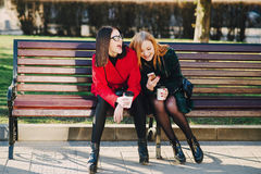 Two girls with gadget. Girls walking around town on a sunny day with phones sitting on a bench and drink coffee Royalty Free Stock Images