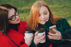 Two girls with gadget. Girls walking around town on a sunny day with phones sitting on a bench and drink coffee Royalty Free Stock Photos