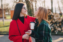 Two girls with gadget. Girls walking around town on a sunny day with phones sitting on a bench and drink coffee royalty free stock photography
