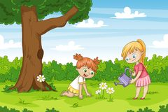 Two girls in the garden. stock illustration