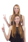 Two girls gemini sisters. On a white background Royalty Free Stock Images