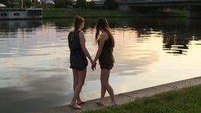Two  girls girlfriend walk along the city waterfront and fun talk. Two young girls girlfriend walk along the city waterfront and fun talk stock video