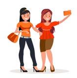 Two girls girlfriends are doing selfie stock illustration