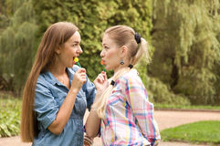 Two girls girlfriends eat lollipop Royalty Free Stock Photography