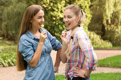 Two girls girlfriends eat lollipop Royalty Free Stock Images
