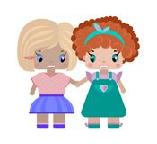 two girls girlfriends holding hands royalty free illustration