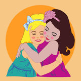 Two girls girls vector illustration