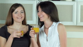Two girls with glasses of juice smiling at the stock video footage