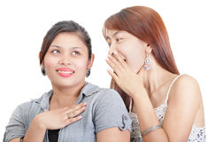 Two girls gossip portrait Stock Images