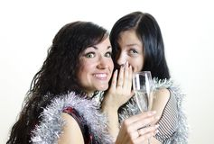 Two girls gossiping Stock Photography