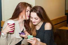 Two girls gossiping in a cafe bar Stock Photo
