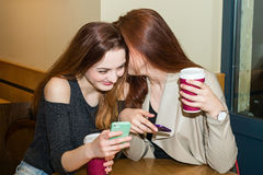 Two girls gossiping in a cafe bar Stock Photos