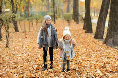 Two girls in a gray caps standing in autumn park in the evening. Two girls in a cute gray caps standing in autumn park in the evening Stock Photos