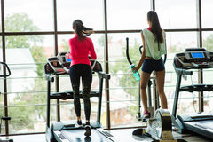 Two girls in the gym Stock Photography