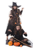 Two girls in halloween costumes Stock Photography