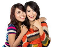 Two girls in a happy friendship. A portrait of two girls in a happy friendship, smile brightly Stock Photo