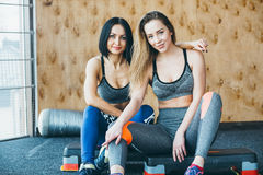 Two girls have a rest after morning classes Stock Image
