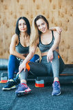 Two girls have a rest after morning classes Royalty Free Stock Photo