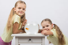 Two girls have a small fishbowl with goldfish. Two happy girls four and six years are at the table on which stands a fishbowl with goldfish Stock Photography