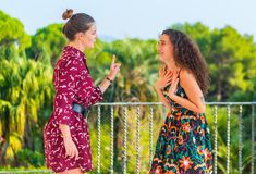 Two girls having an argument. Two young female girls having a vivid conversation on the park. A vivid argument and discussion between friends. Italian hand sign royalty free stock photos