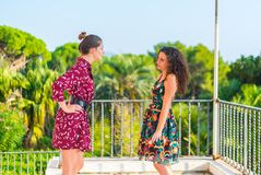 Two girls having an argument. Two young female girls having a vivid conversation on the park. A vivid argument and discussion between friends. Italian hand sign royalty free stock photography