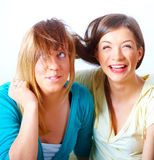 Two girls having fun Stock Images
