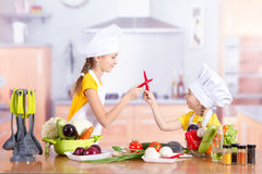 Two girls having fun in the kitchen Stock Photography