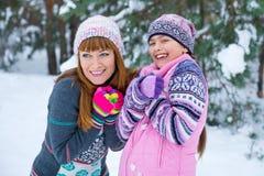 Two girls having fun in winter Royalty Free Stock Photo