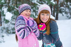 Two girls having fun in winter Royalty Free Stock Photography