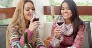Two Girls Having Glasses of Wine at the Cafe stock video footage