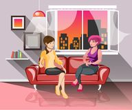 Two girls having good time together. Vector illustration Royalty Free Stock Photos