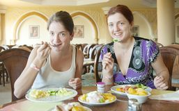 Two girls having lunch Stock Photography