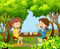 Two girls having picnic in the woods. Illustration Stock Photography