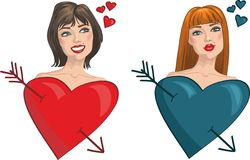 Two girls with hearts and arrows. Valentine's Day Royalty Free Stock Photo