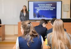 Two girls in classroom royalty free stock photos
