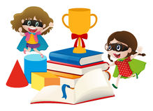Two girls in hero costume with books. Illustration Stock Image