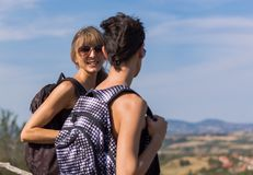 Two girls hiking Royalty Free Stock Photo