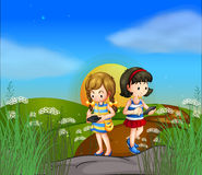 Two girls at the hilltop using their cellphones Royalty Free Stock Photo